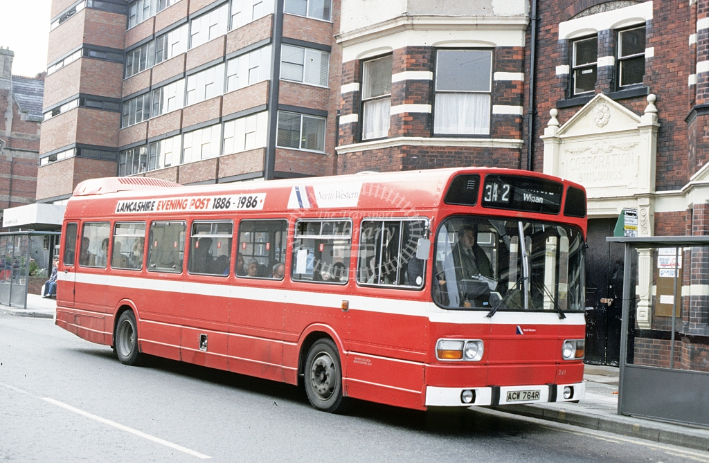 North Western (2) Leyland National ACW764R  at St Helens  in 1987 - Jun - J S C Archive