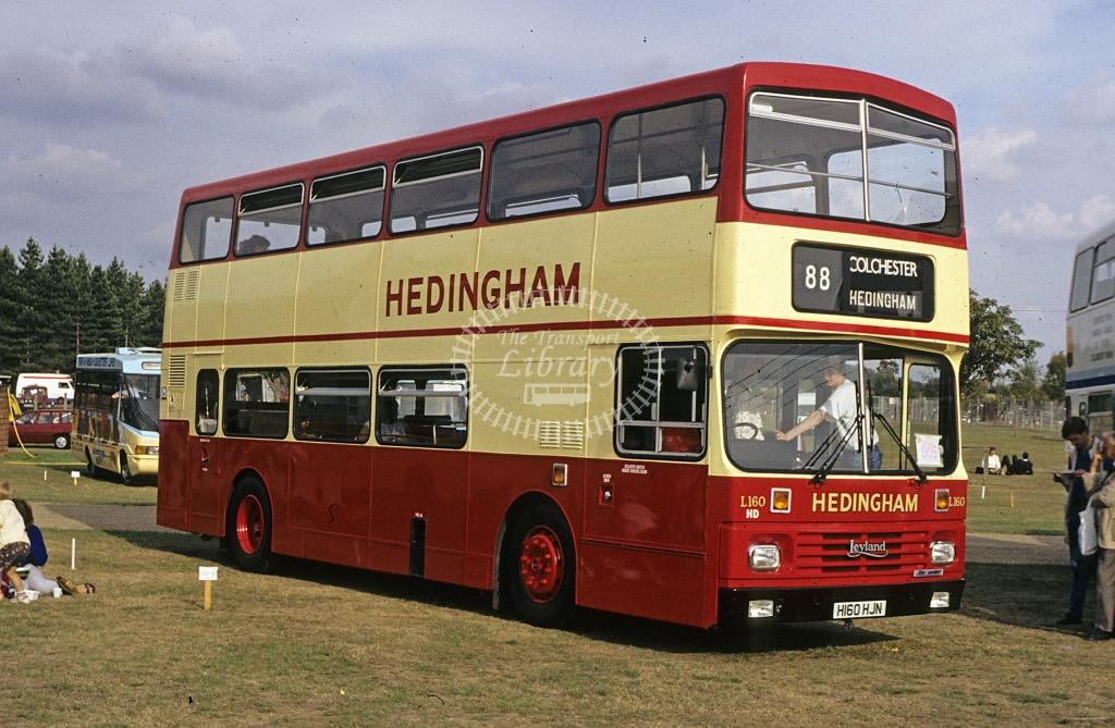 Hedingham Omnibuses Leyland Olympian L160 H160HJN  at rally  in 1990 - Sep - J S C Archive