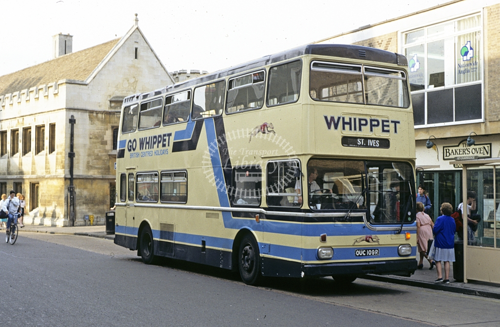 Whippet, Hilton Metro Scania OUC109R  at Cambridge  in 1990 - Sep - J S C Archive