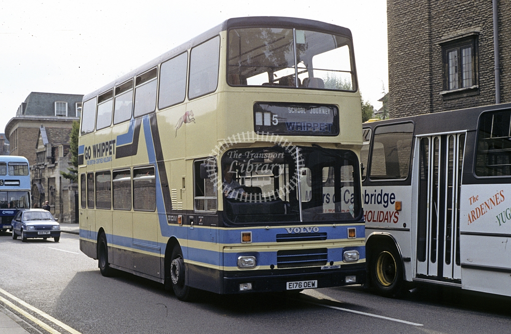 Whippet, Hilton Volvo B10 E176OEW  at Cambridge  in 1990 - Sep - J S C Archive