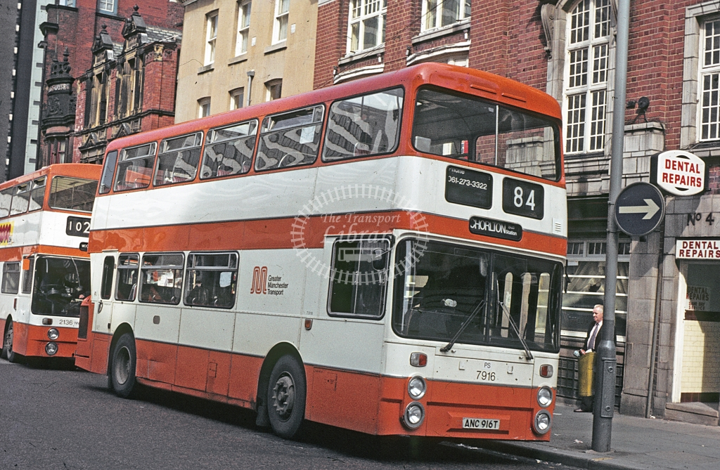 GMT Leyland Atlantean 7916 ANC916T  at Manchester  in 1979 - Apr - J S C Archive