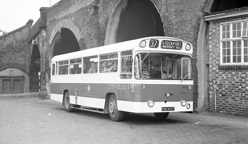 Stockport Leyland Panther Cub 407 KDB407F  at Mersey Square  in 1968 -  27/3/68  - JS Cockshott