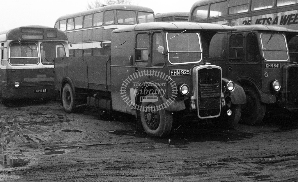 United Bristol K lorry FHN925  at North, dealer, Sherburn in Elmet yard   in 1968 -  November  - JS Cockshott