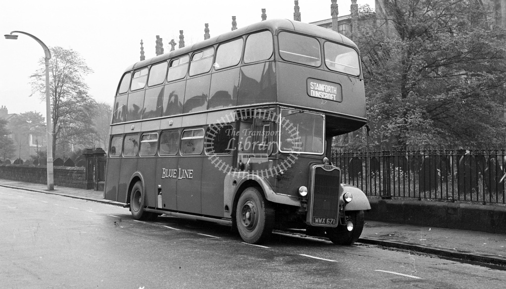 Blue Line, Armthorpe Guy Arab III WWX671  at Doncaster, Christ Church  in 1961 -  29/4/61  - JS Cockshott