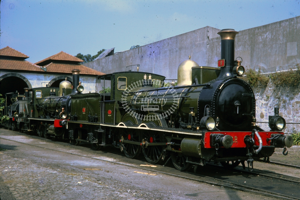 CP Portugal Railways Steam locomotive 9 at Braga -  in 1987 - 02/87 Portugese preserved locos- James Winkley