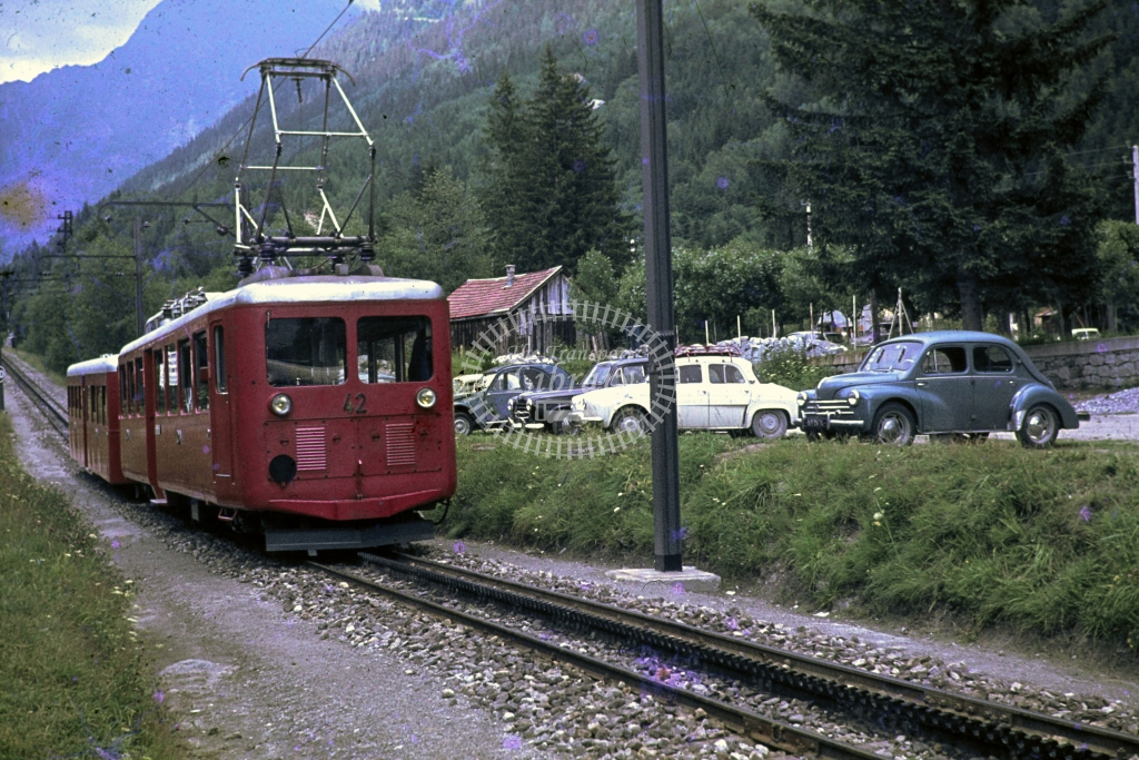 TMB Tramway du Mont Blanc Electric Railcar 42 at  nr Chamonix -  in Undated -  Rack railway  Chamonix to  La Mer du Glace- James Winkley