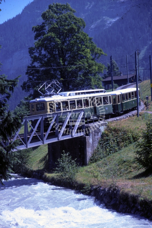 WAB Wengeralpbahn Electric Railcar 2 at First -  in 1997 - - James Winkley