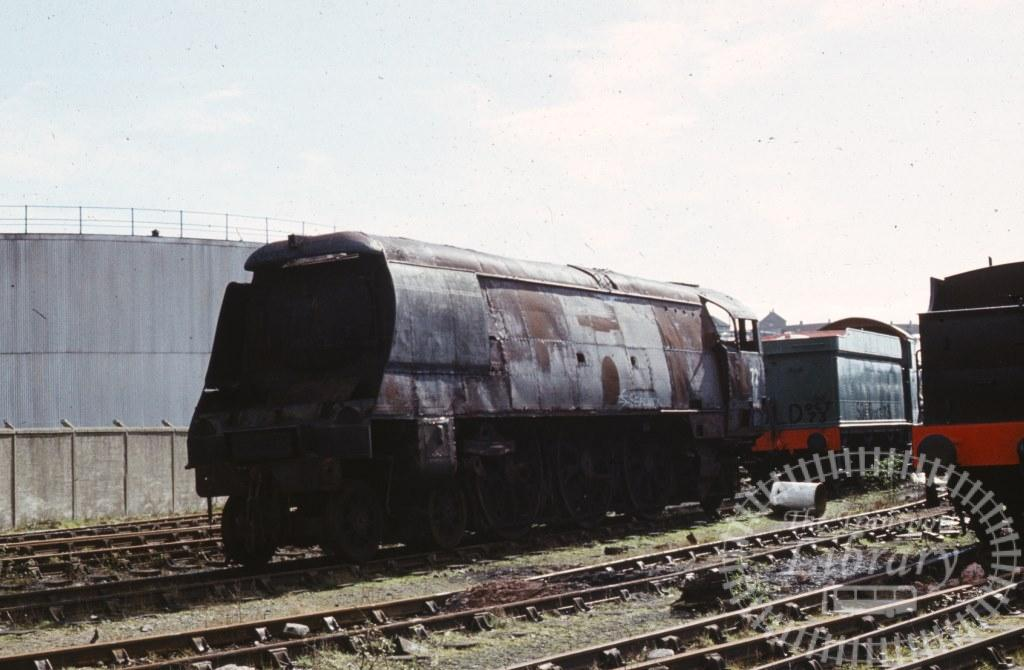 BR British Railways Steam Locomotive Class West Country 34072  at Woodham Brothers, Barry in 1974 - 02/03/1974 - Keith Taylorson