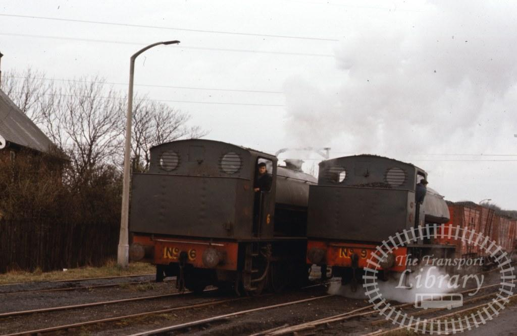 NCB National Coal Board Steam Locomotive 6 & 9  at Backworth Colliery in 1975 - 14/03/1975 - Keith Taylorson