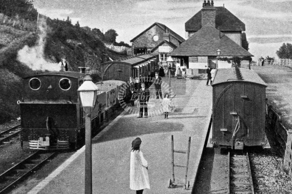View looking down the platform at Lynton station, copy postcard, circa 1910 - Lens of Sutton Association Lynton and Barnstaple