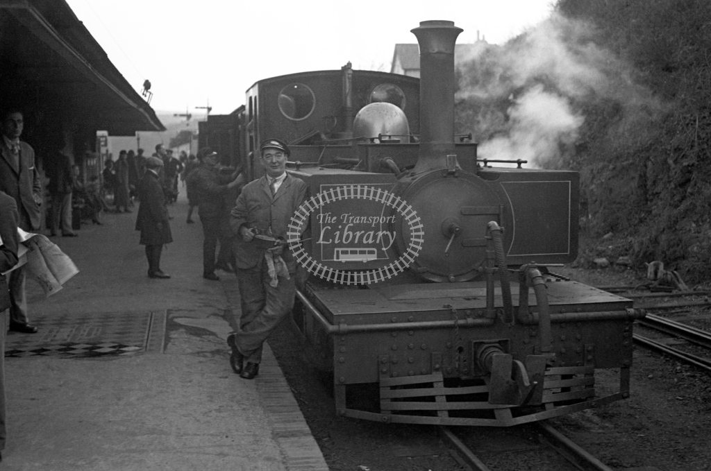 Unidentified ex Lynton & Barnstaple loco posed with driver at the buffers at Lynton station, circa 1935 - Lens of Sutton Association Lynton and Barnstaple