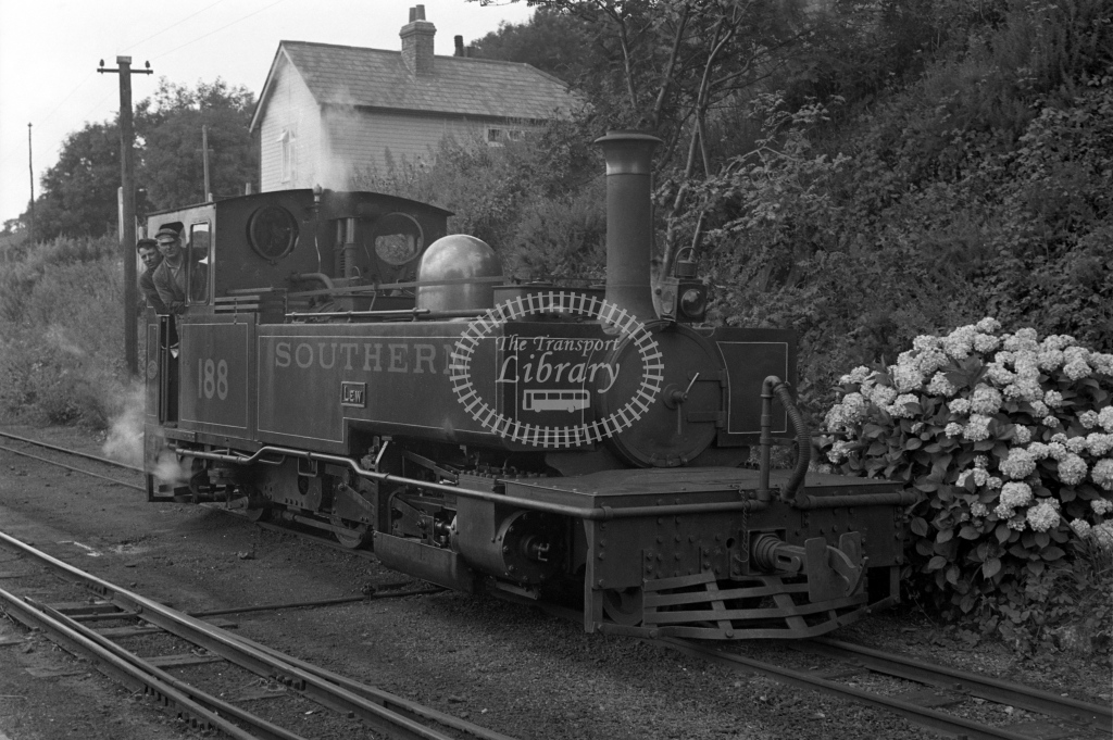 SR 188 Lew posed with driver and fireman at Lynton, circa 1935 - Lens of Sutton Association Lynton and Barnstaple