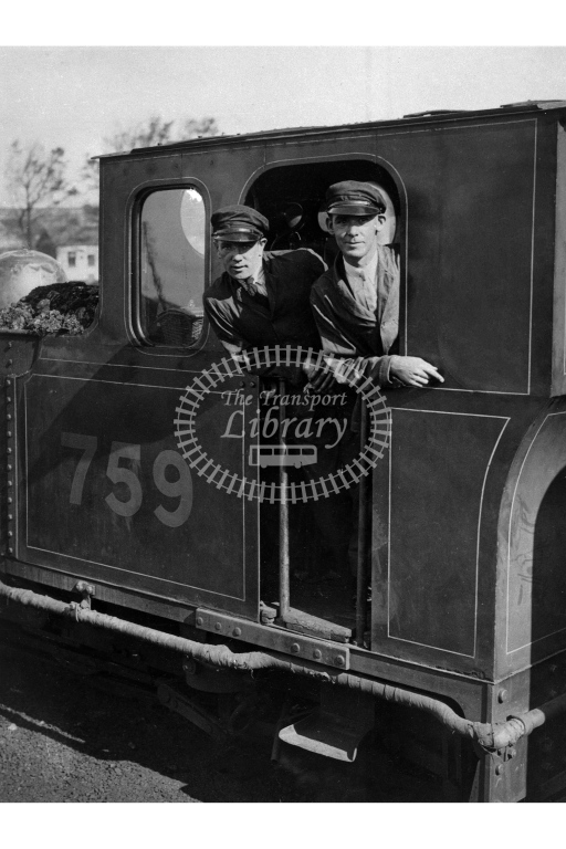 Detailed view of the cab of SR 759 Yeo, with driver and fireman posing, circa 1935, possibly at Barnstaple Town - Lens of Sutton Association Lynton and Barnstaple
