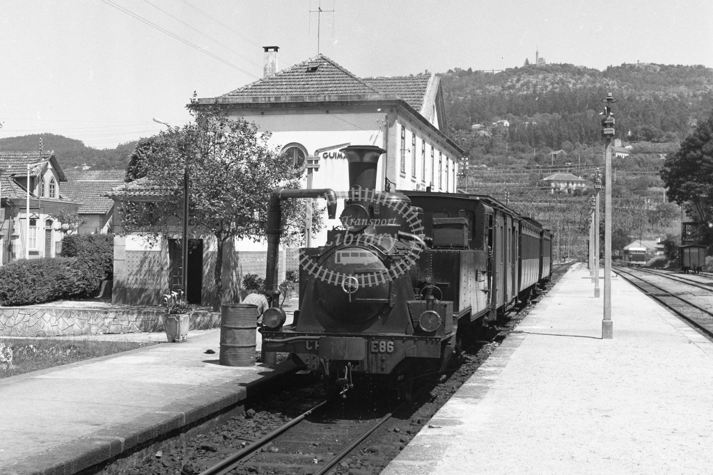CP E86 2-6-0T at Guimaraes Station 1969 (Frank Saunders) - Lens of Sutton Association Portugal Collection