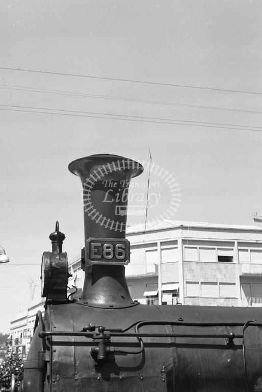 CP E86 2-6-0T at Guimaraes Station 1969. Close up of chimney and smokebox (Frank Saunders) - Lens of Sutton Association Portugal Collection