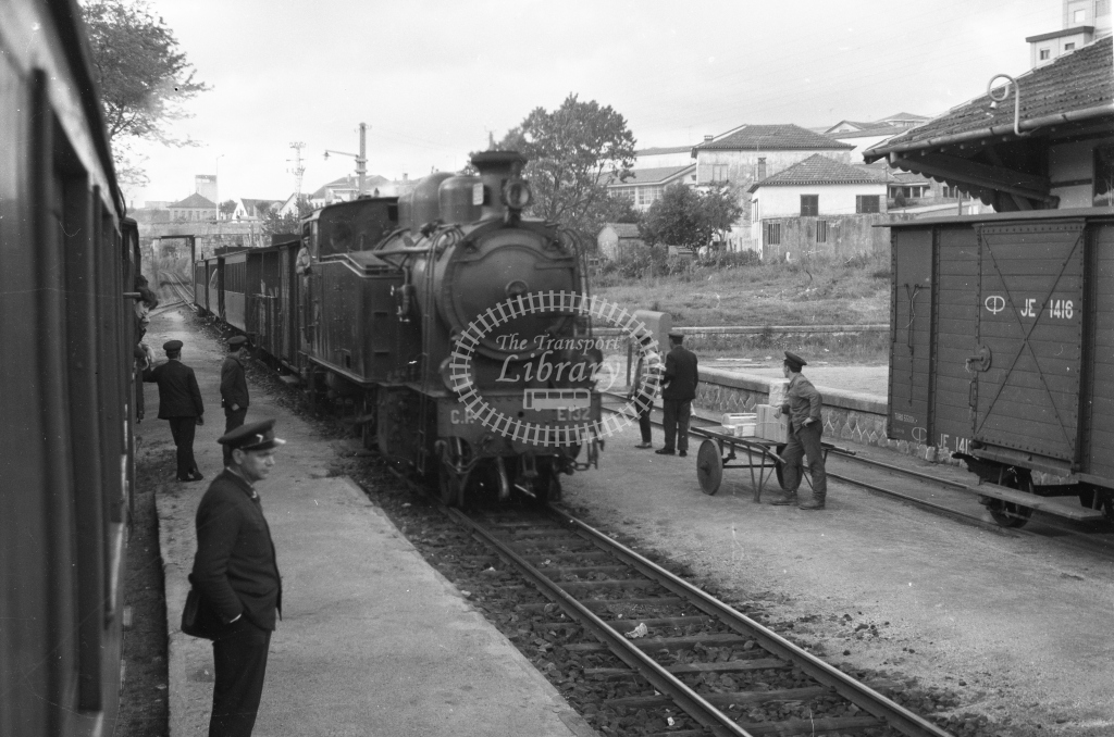 CP E132 2-8-2T at Oliveira de Azemeis Station 1969 (Frank Saunders) - Lens of Sutton Association Portugal Collection