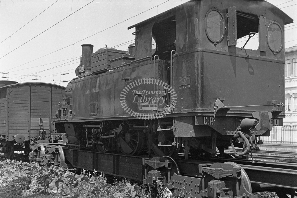 CP E101 2-6-0T on transporter wagon at Espinho Station, Porto 1969 (Frank Saunders) - Lens of Sutton Association Portugal Collection