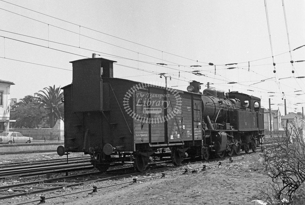 CP 079 2-6-4T with CP 31247 caboose van at Espinho Station, Porto 1969 (Frank Saunders) - Lens of Sutton Association Portugal Collection