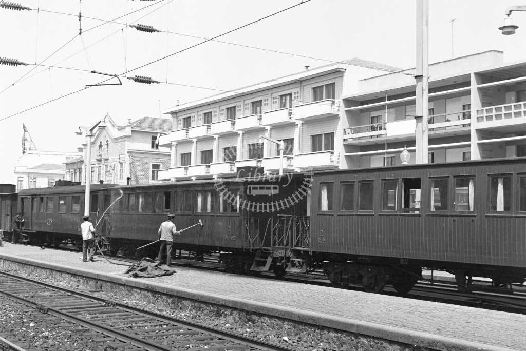 CP carriage washing at Espinho Station, Porto 1969 (Frank Saunders) - Lens of Sutton Association Portugal Collection