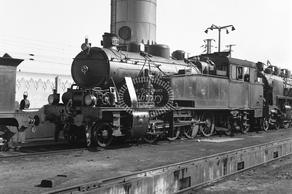 CP 0181 2-8-4T in the yard at Contumil MPD, Porto 1969 (Frank Saunders) - Lens of Sutton Association Portugal Collection