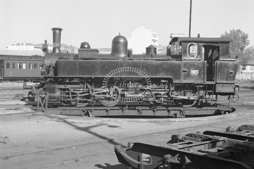 CP E161 0-4-4-0T Mallet on the turntable at Avenida da Franca MPD, Porto 1969 (Frank Saunders) - Lens of Sutton Association Portugal Collection