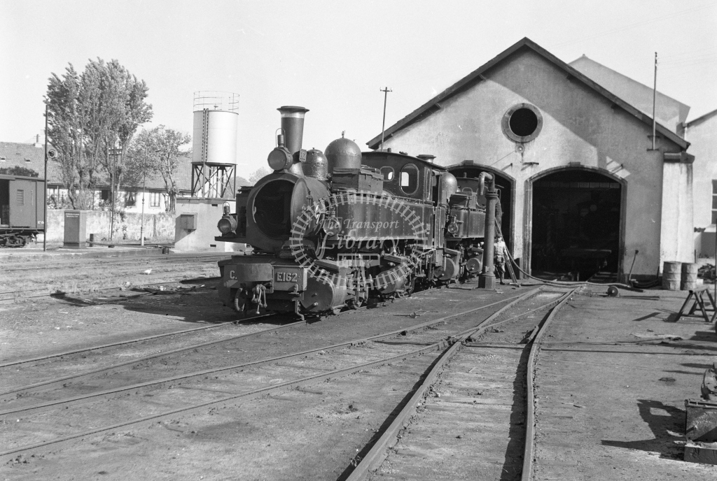 CP E162 0-4-4-0T Mallet outside the engine shed at Avenida da Franca MPD, Porto 1969 (Frank Saunders) - Lens of Sutton Association Portugal Collection