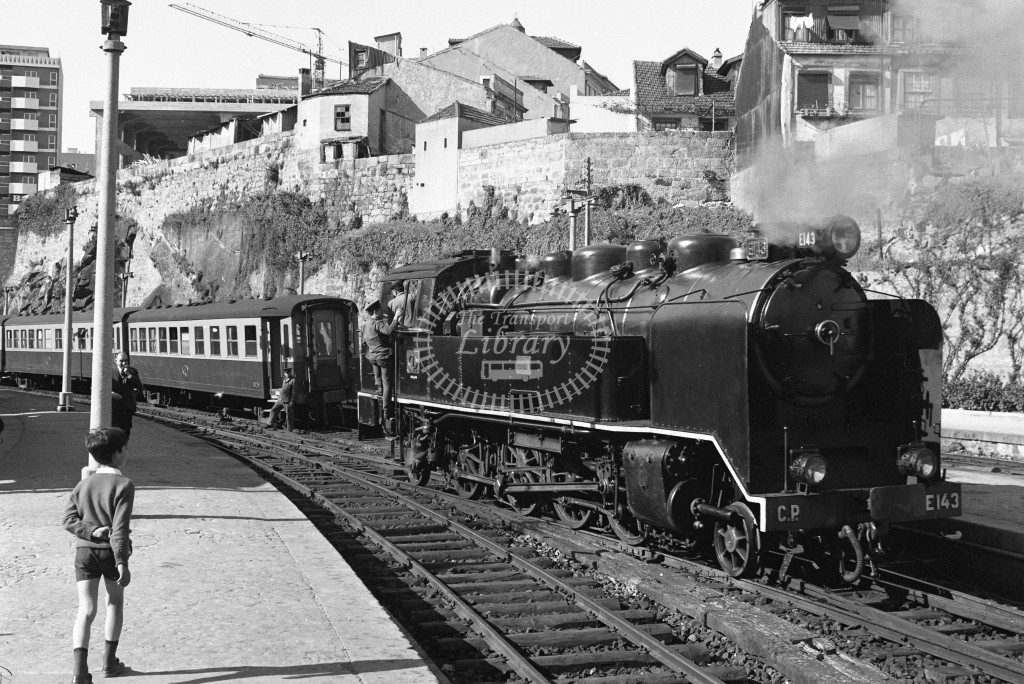 CP E143 2-8-2T at Porto Trindade 1969 (Frank Saunders) - Lens of Sutton Association Portugal Collection