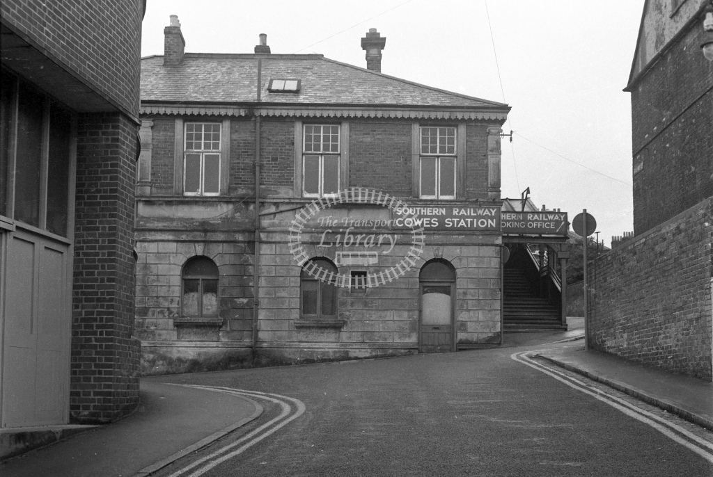 BR Cowes. View of the exterior of the station from the north; circa 1965/6 -Lens of Sutton Association Isle of Wight (IOW) part 2