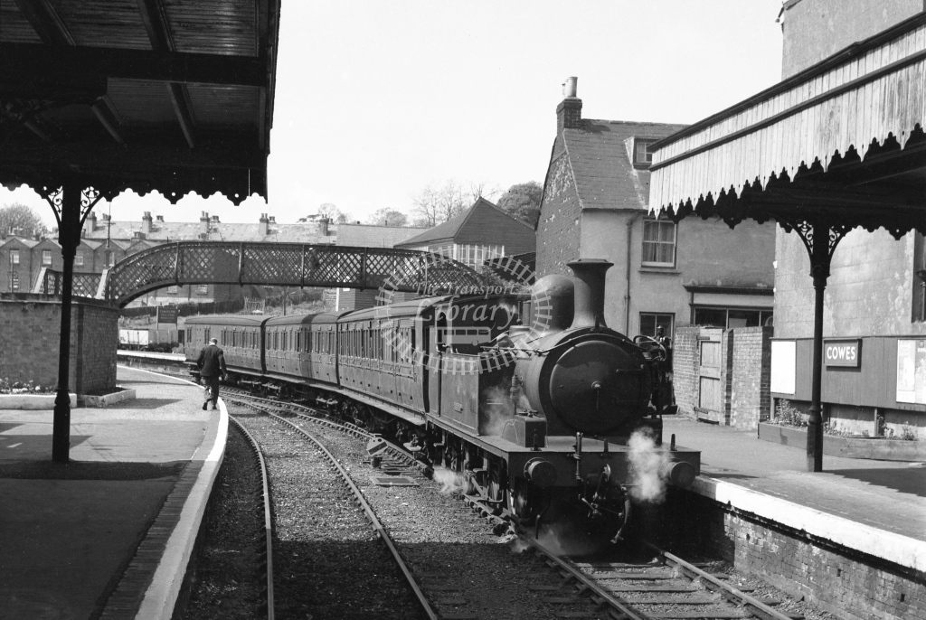 BR Cowes. W24 Calbourne arrived with a three coach train; circa 1964 -Lens of Sutton Association Isle of Wight (IOW) part 2