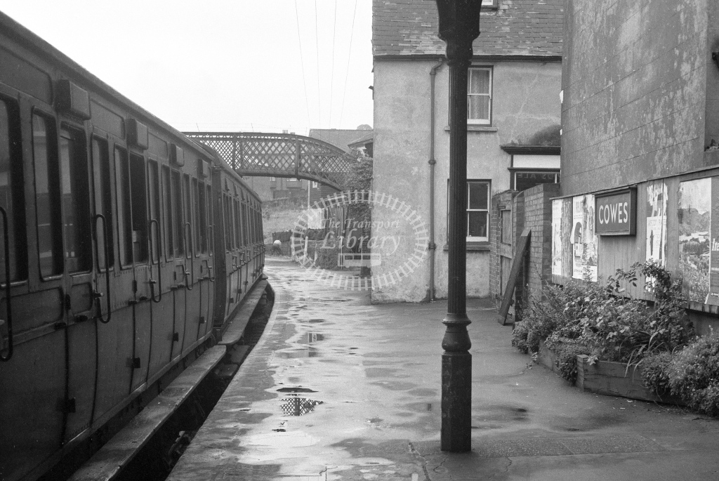 BR Cowes. View along platform 1 with train in platform; circa 1965/6 -Lens of Sutton Association Isle of Wight (IOW) part 2