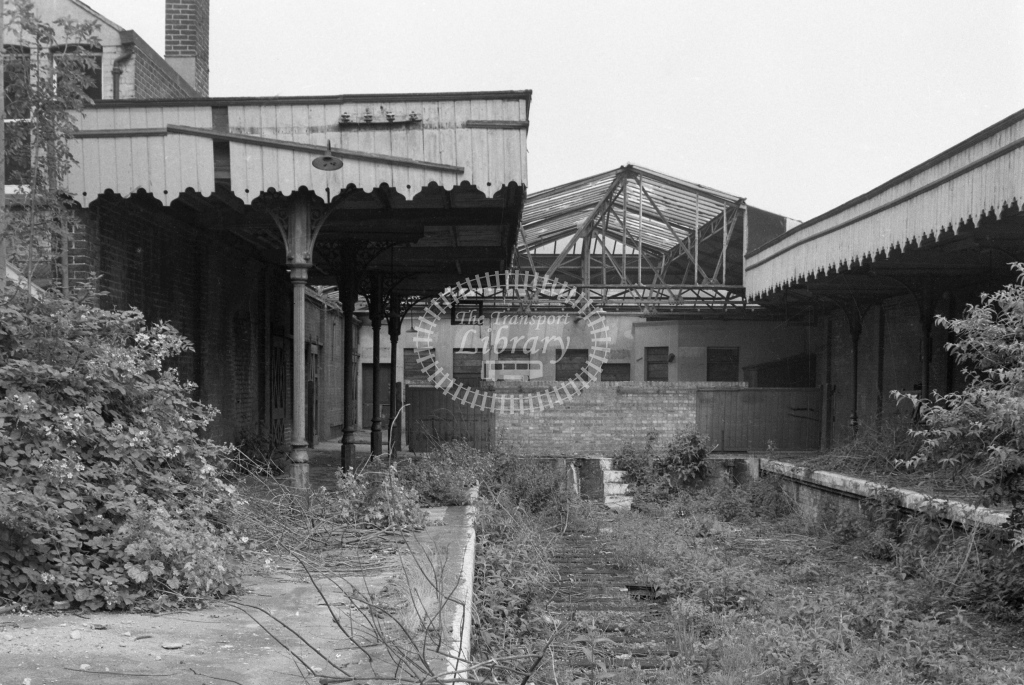 BR Cowes. Post closure view looking to canopies and concourse after track has been lifted; circa 1970 -Lens of Sutton Association Isle of Wight (IOW) part 2