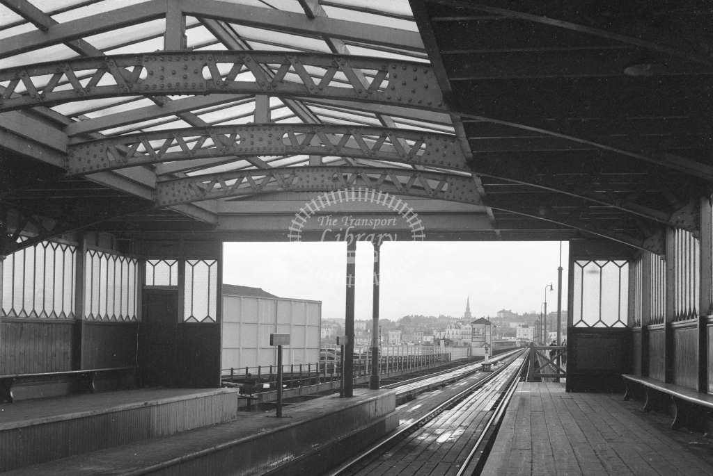 Ryde Pier Tramway Ryde Pierhead station. View under train shed looking towards Ryde; circa 1965/6 -Lens of Sutton Association Isle of Wight (IOW) part 2