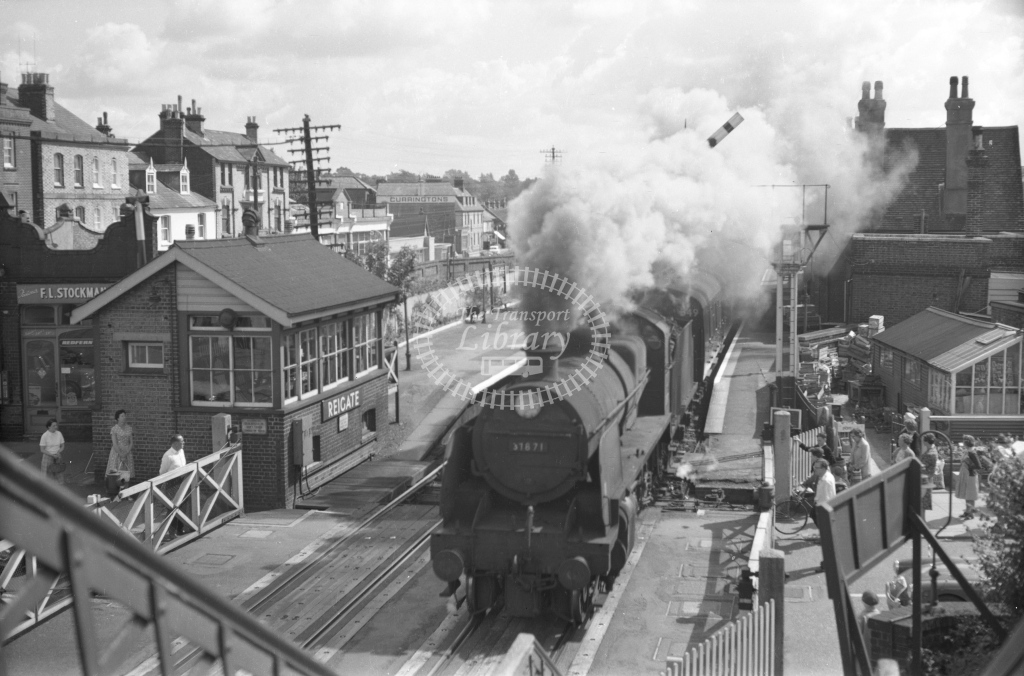 SER Reigate towards Redhill with N class No. 31871 c. 1960 - Lens of Sutton Association SECR Stations part 1