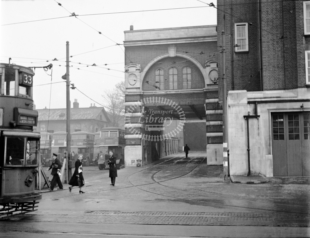 London Transport Tram/Strassenbahn at West Norwood in 1951  - 1993 LPT tram with view of depot entrance - Lens of Sutton Dennis Cullum Collection