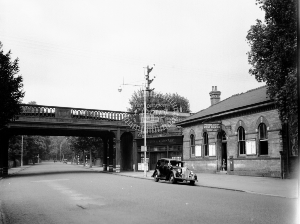 British Railways Station View at West Dulwich in 1952  - View of station building and bridge from Thurlow Park Road - Lens of Sutton Dennis Cullum Collection