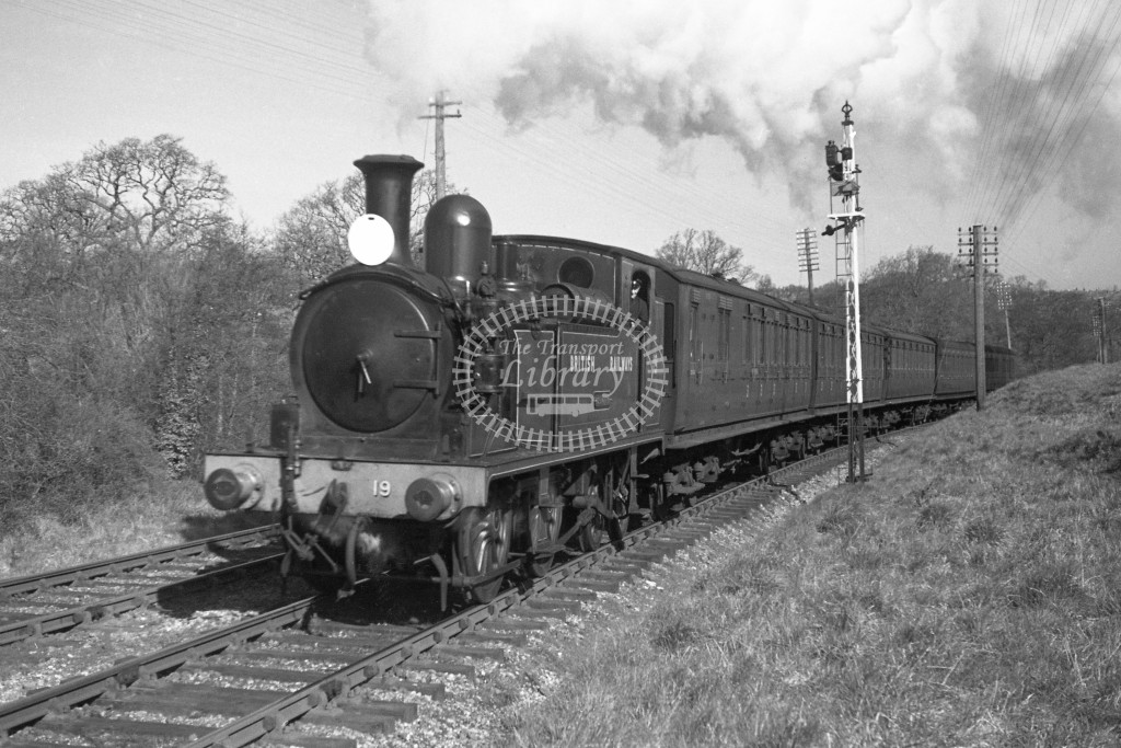 BR W19 Osborne class O2  with passenger service at Smallbrook Junction 9/4/49; loco in malachite lettered 'British Railways'; L3/4 front view.-Lens of Sutton Association Isle of Wight (IOW) PM Alexander collection