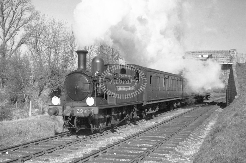 BR W29 Alverstone class O2  with passenger service at Smallbrook Junction 9/4/49; loco in malachite lettered 'British Railways'; L3/4 front view.-Lens of Sutton Association Isle of Wight (IOW) PM Alexander collection