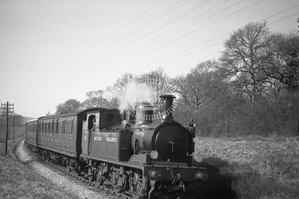 BR W34 Newport class O2  with passenger service at Smallbrook Junction 9/4/49; loco in malachite lettered 'British Railways'; R3/4 front view.-Lens of Sutton Association Isle of Wight (IOW) PM Alexander collection