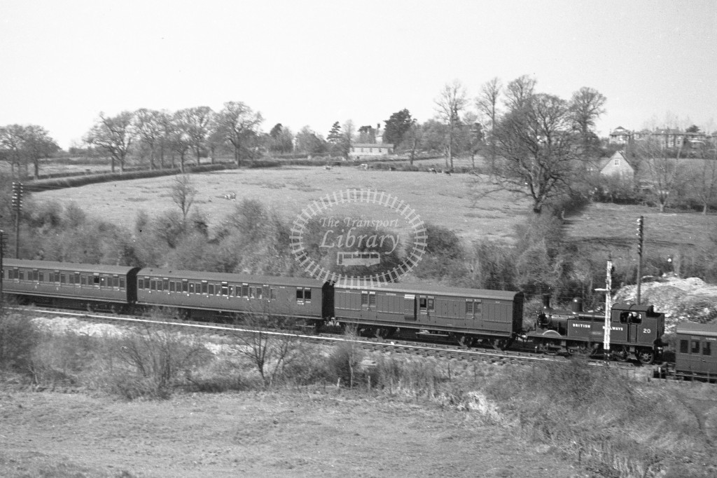 BR panoramic  view of W20 Newport class O2  runing bunker first with passenger service at Smallbrook Junction 9/4/49; loco in malachite lettered 'British Railways'; R3/4 rear view.-Lens of Sutton Association Isle of Wight (IOW) PM Alexander collection