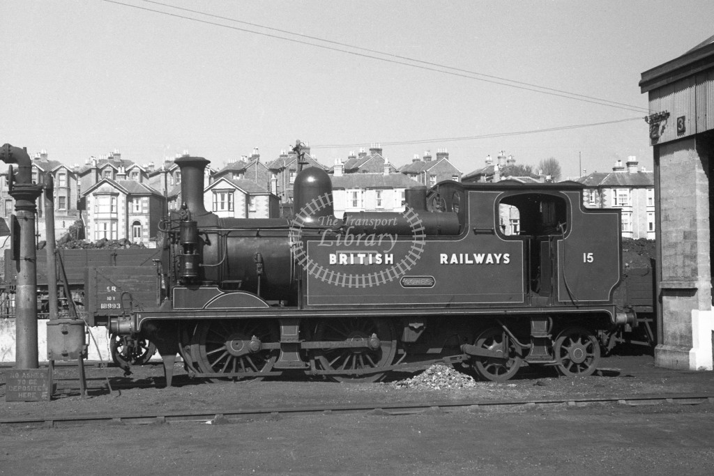 BR W15 Cowes class O2  standing in yard at Ryde MPD 9/4/49; loco in malachite lettered 'British Railways'; L broadside view.-Lens of Sutton Association Isle of Wight (IOW) PM Alexander collection