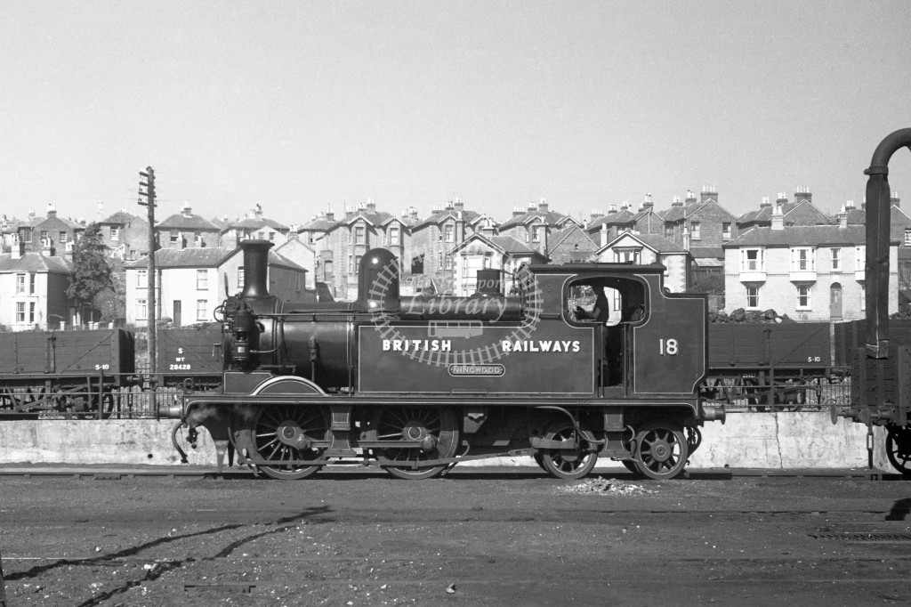 BR W18 Ningwood class O2  standing in yard at Ryde MPD 9/4/49; loco in malachite lettered 'British Railways'; L broadside view.-Lens of Sutton Association Isle of Wight (IOW) PM Alexander collection