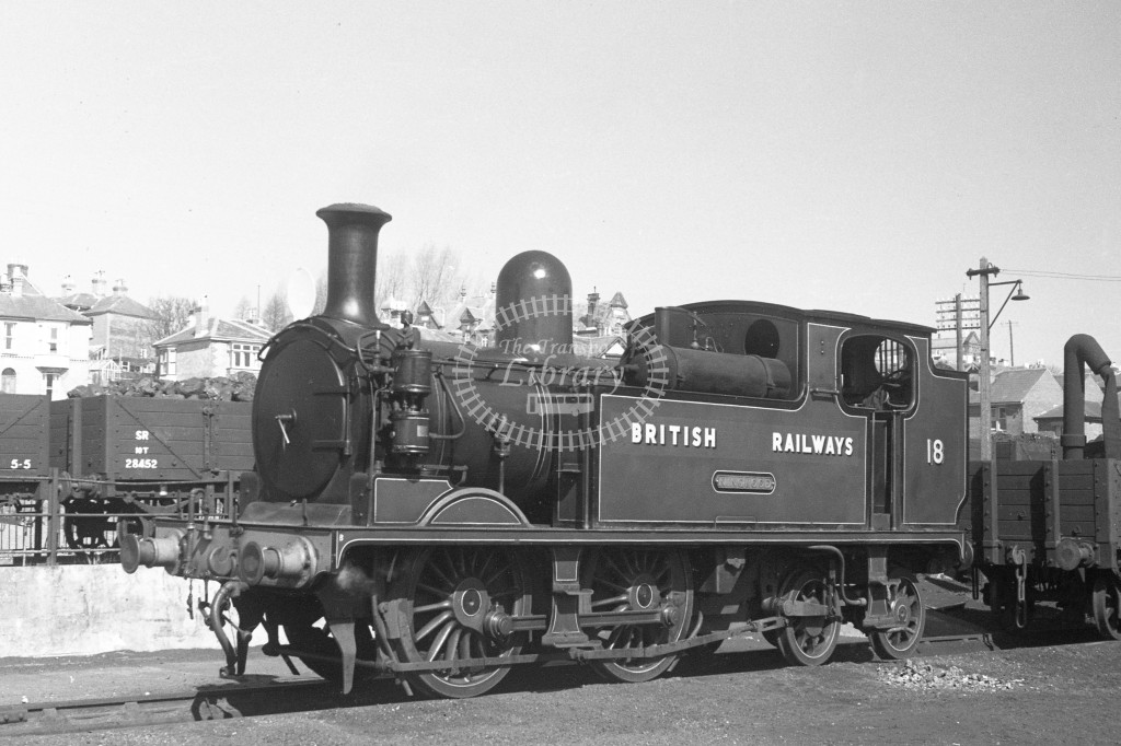 BR W18 Ningwood class O2  standing in yard at Ryde MPD 9/4/49; loco in malachite lettered 'British Railways'; L 3/4 front view.-Lens of Sutton Association Isle of Wight (IOW) PM Alexander collection