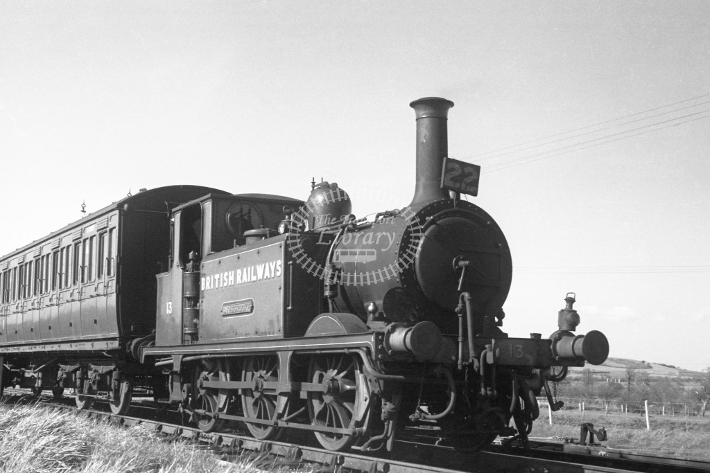BR W13 Carisbrooke ex LBSC class A1X at Merstone with push pill coach S6987  9/4/49; loco in malachite lettered 'British Railways'; R 3/4 front view.-Lens of Sutton Association Isle of Wight (IOW) PM Alexander collection