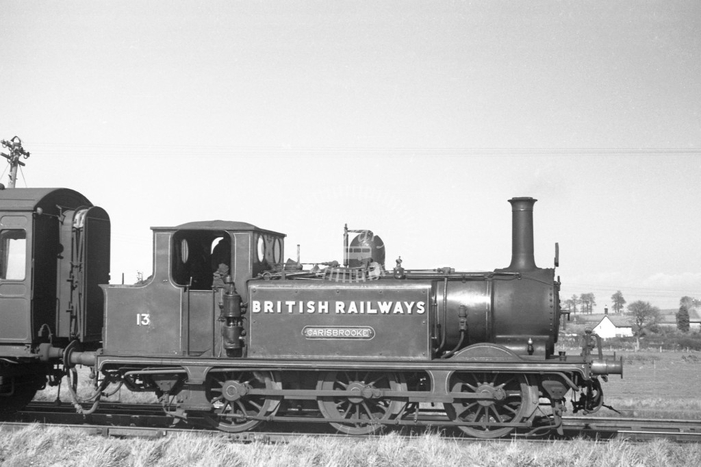 BR W13 Carisbrooke ex LBSC class A1X at Merstone 9/4/49; loco in malachite lettered 'British Railways'; R broadside view.-Lens of Sutton Association Isle of Wight (IOW) PM Alexander collection