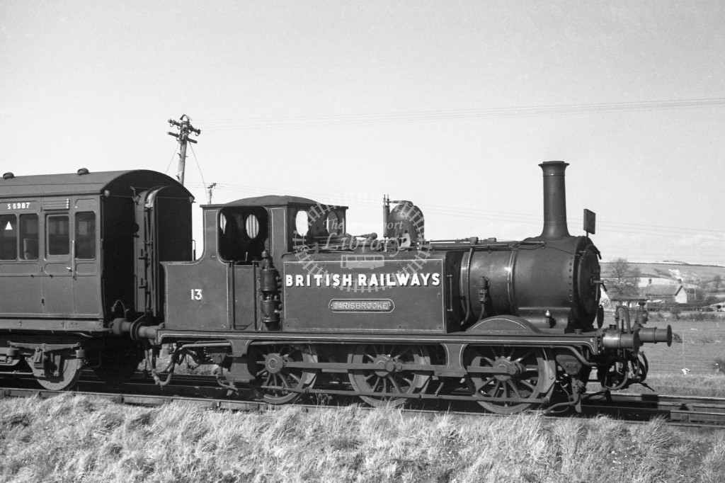 BR W13 Carisbrooke ex LBSC class A1X at Merstone with push pull coach S6987  9/4/49; loco in malachite lettered 'British Railways'; R 3/4 front view.-Lens of Sutton Association Isle of Wight (IOW) PM Alexander collection