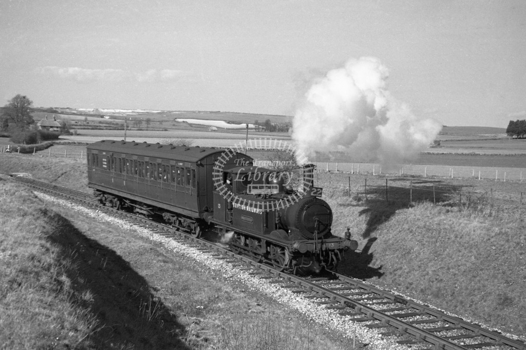 BR W13 Carisbrooke ex LBSC class A1X with push pull coach S6987 departing Merston for Ventnor West  9/4/49; loco in malachite lettered 'British Railways'; R 3/4 front view.-Lens of Sutton Association Isle of Wight (IOW) PM Alexander collection