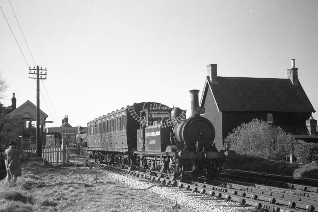 BR W13 Carisbrooke ex LBSC class A1X with push pull coach S6987  arriving at Merston from Ventnor West  9/4/49; loco in malachite lettered 'British Railways'; R 3/4 front view.-Lens of Sutton Association Isle of Wight (IOW) PM Alexander collection