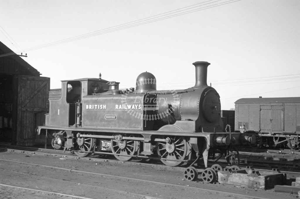 BR W1 Medina class E1 standing outside Newport engine shed 9/4/49; loco in malachite lettered 'British Railways'; R3/4 front view.-Lens of Sutton Association Isle of Wight (IOW) PM Alexander collection