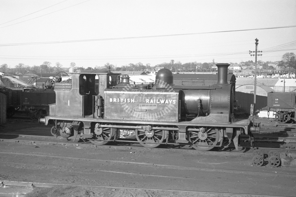 BR W1 Medina class E1 standing outside Newport engine shed 9/4/49; loco in malachite lettered 'British Railways'; R broadside view.-Lens of Sutton Association Isle of Wight (IOW) PM Alexander collection