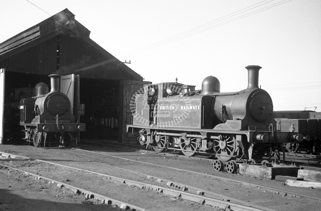 BR W1 Medina class E1 standing outside Newport engine shed 9/4/49; loco in malachite lettered 'British Railways'; R3/4 front view; wider view than PMA1305 with W2 also in view.-Lens of Sutton Association Isle of Wight (IOW) PM Alexander collection